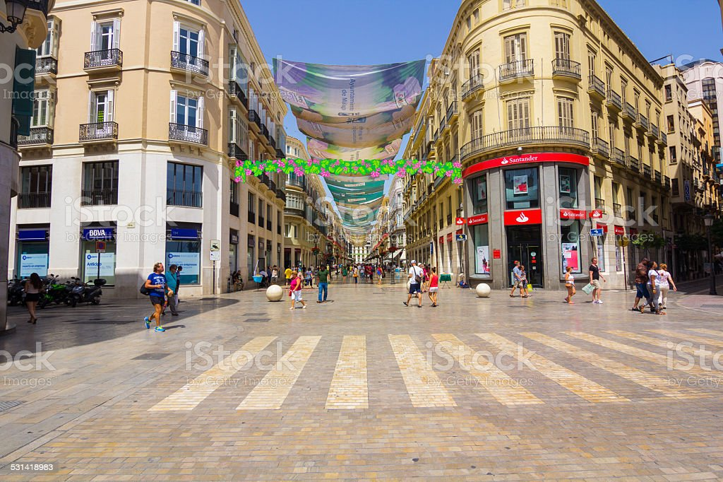 Famous Marques de Larios street in town Malaga, Spain stock photo
