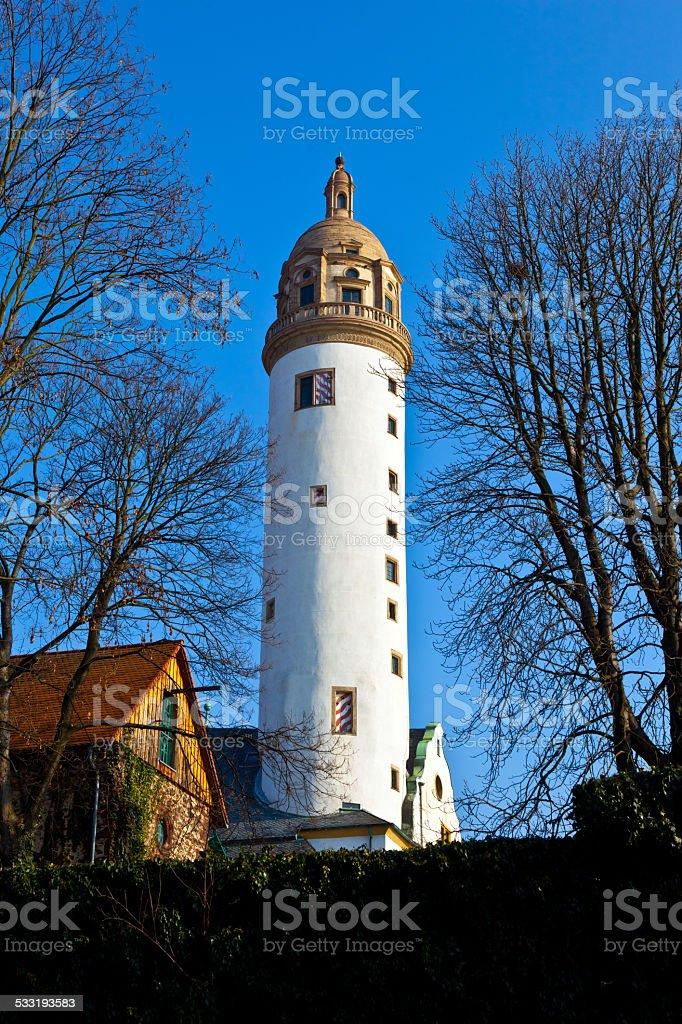 famous medieval Hoechster Schlossturm in Frankfurt stock photo