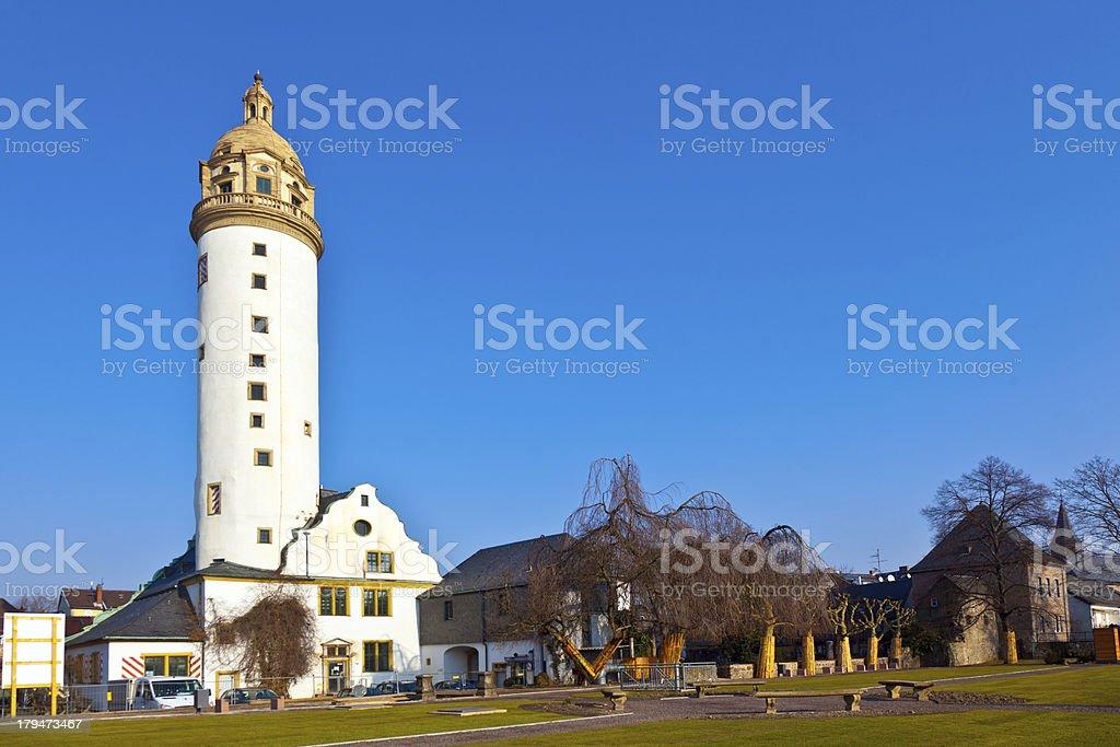 famous medieval Hoechster Schlossturm in Frankfurt royalty-free stock photo