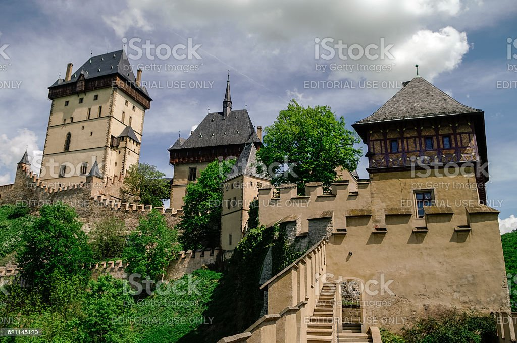 Famous medieval Karlstejn castle near Prague in Czech Republic stock photo