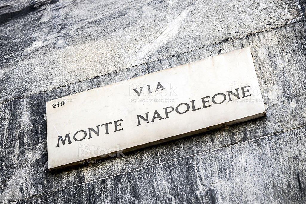 Famous Milan city centre street signs: Via Monte Napoleone stock photo