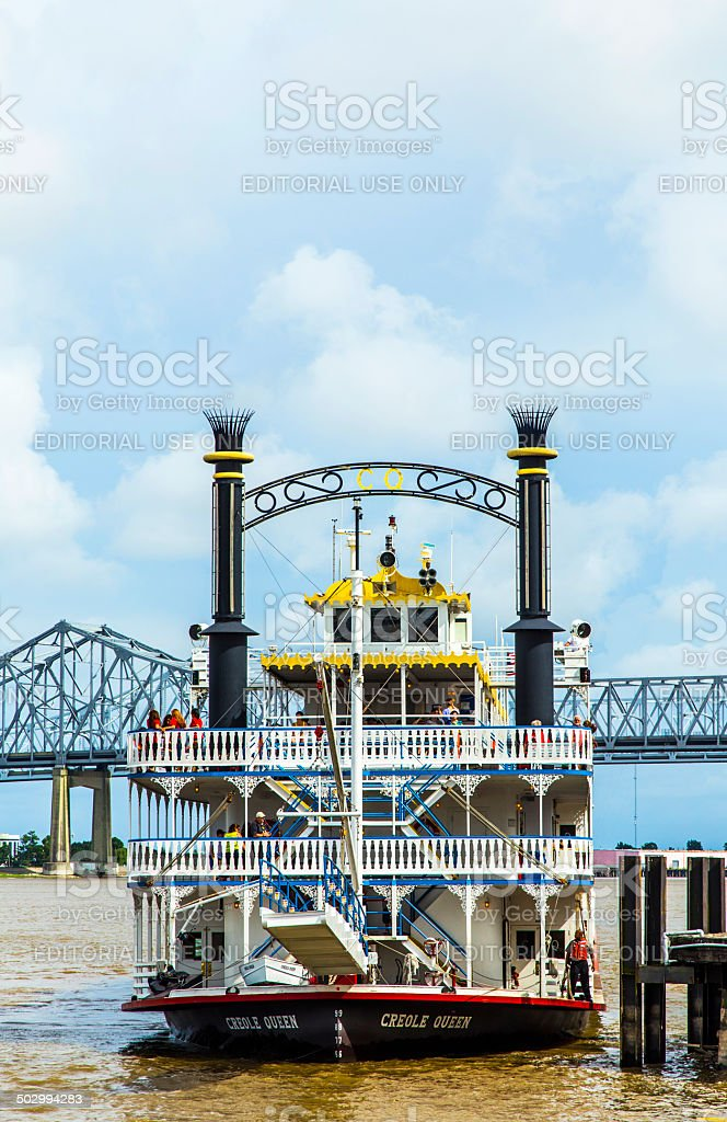 famous Missisippi paddlewheeler Creole Queen stock photo