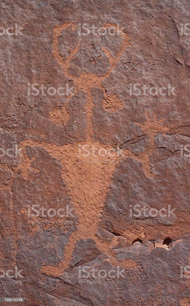 Famous Moab Man actual indian petroglyph royalty-free stock photo