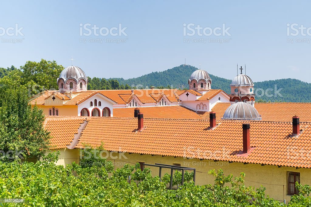 Famous monastery of Osios David at north Evia. Outside view. stock photo