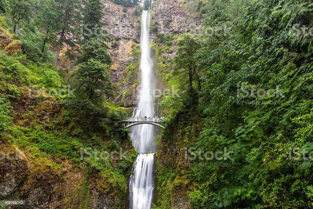 Famous Multnomah falls in Columbia river gorge, Oregon stock photo