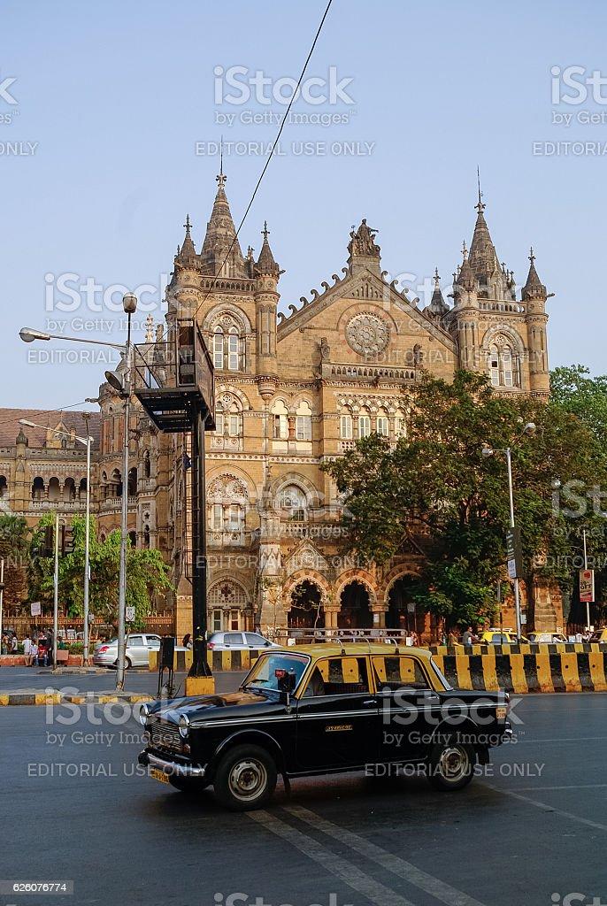 Famous Mumbai yellow-black taxi car stock photo