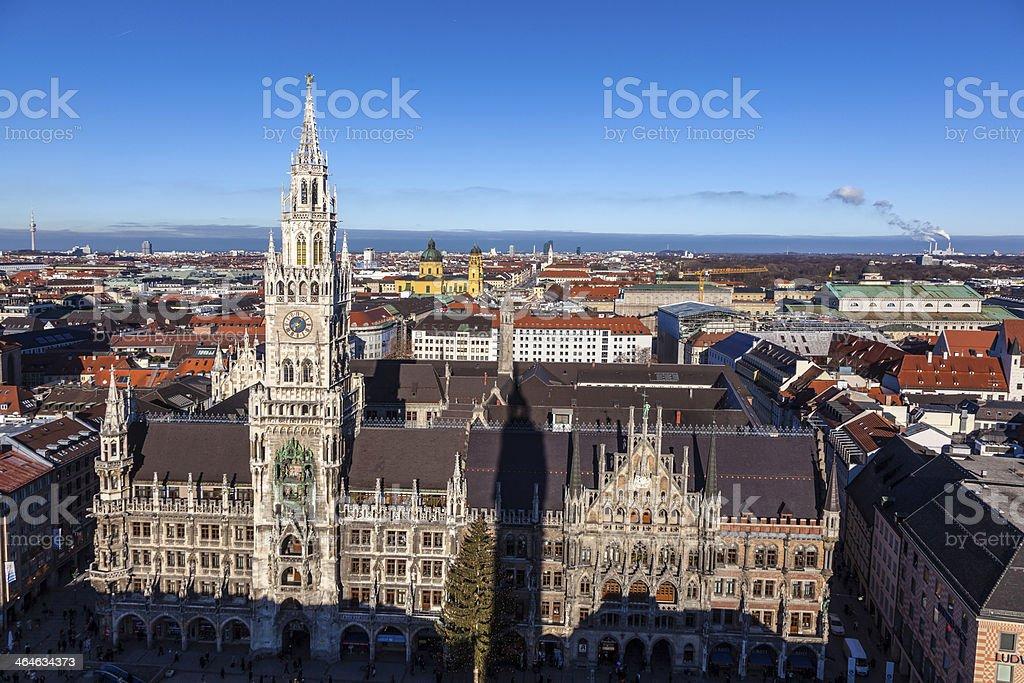 famous munich marienplatz with town hall stock photo