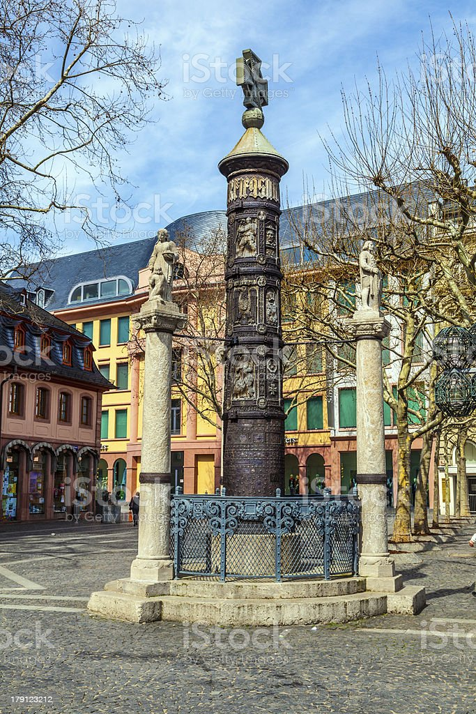 famous Nagelsaeule in Mainz to remember the dead of WW1 royalty-free stock photo