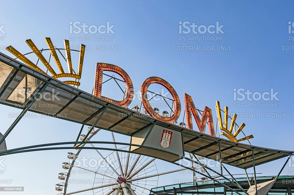 famous neon sign Dom in Hamburg stock photo