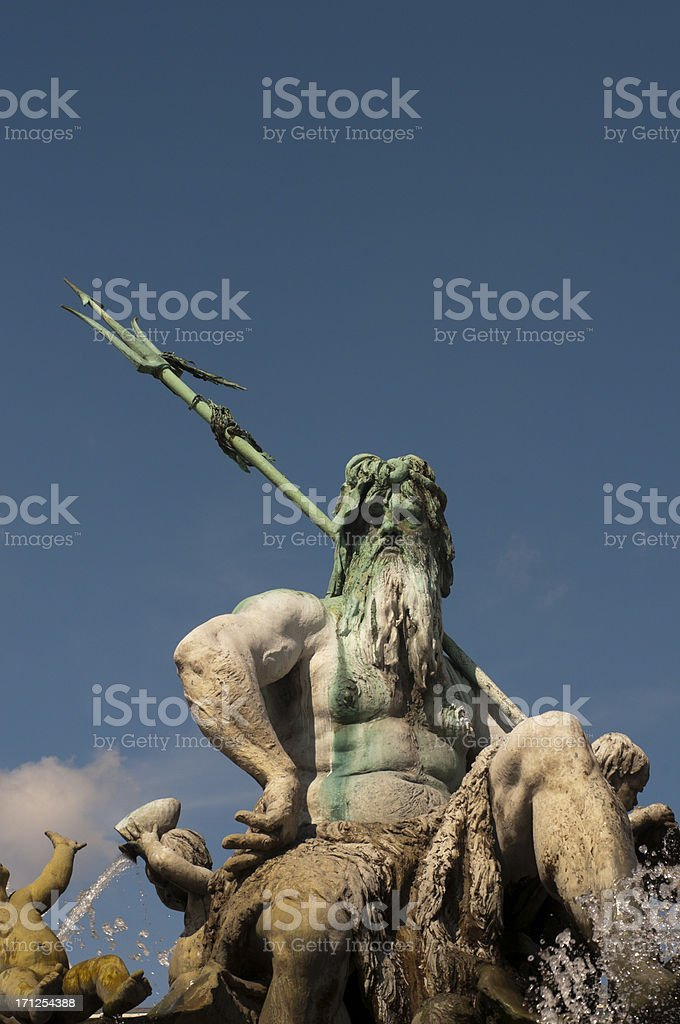 Famous Neptune fountain sculpture on the Alexanderplatz in Berlin, Germany royalty-free stock photo