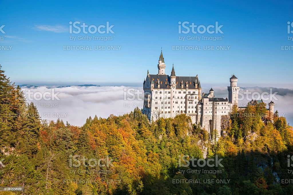 Famous Neuschwanstein castle in Bavaria, Germany stock photo