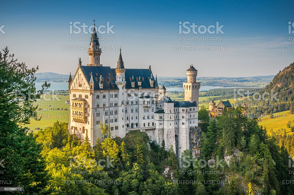 Famous Neuschwanstein Castle with scenic mountain landscape near Fussen, Germany stock photo