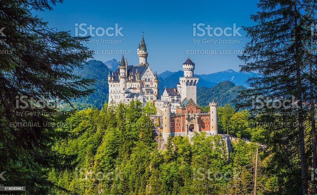 Famous Neuschwanstein Castle with scenic mountain landscape near stock photo