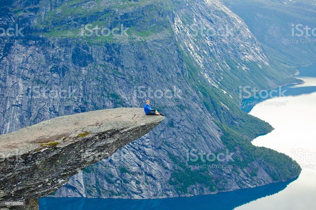 Famous norwegian rock hiking place - trolltunga, trolls tongue, Norway stock photo