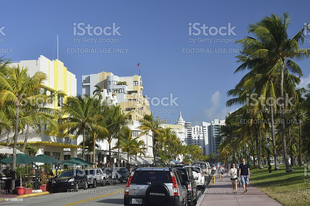 Famous Ocean Drive in Miami Beach royalty-free stock photo