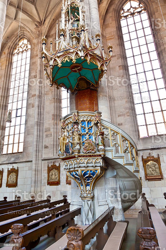 famous old church St. George in medieval town of Dinkelsbuehl stock photo