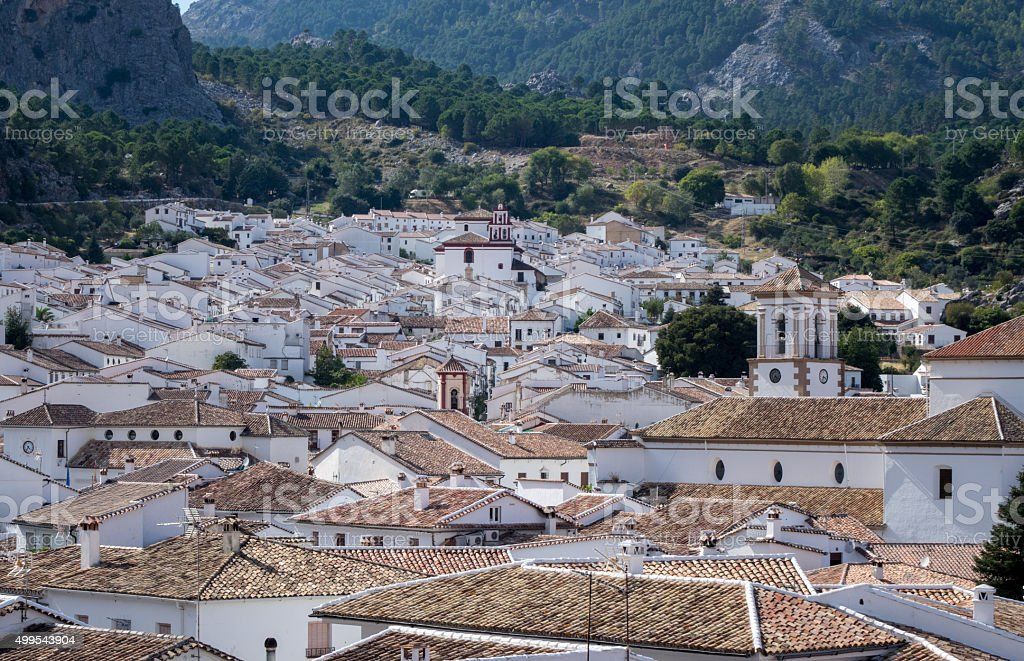 Famous old hilltown of Grazalema in Andalucia stock photo