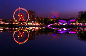 famous old lunapark with reflections during sunset at ankara turkey