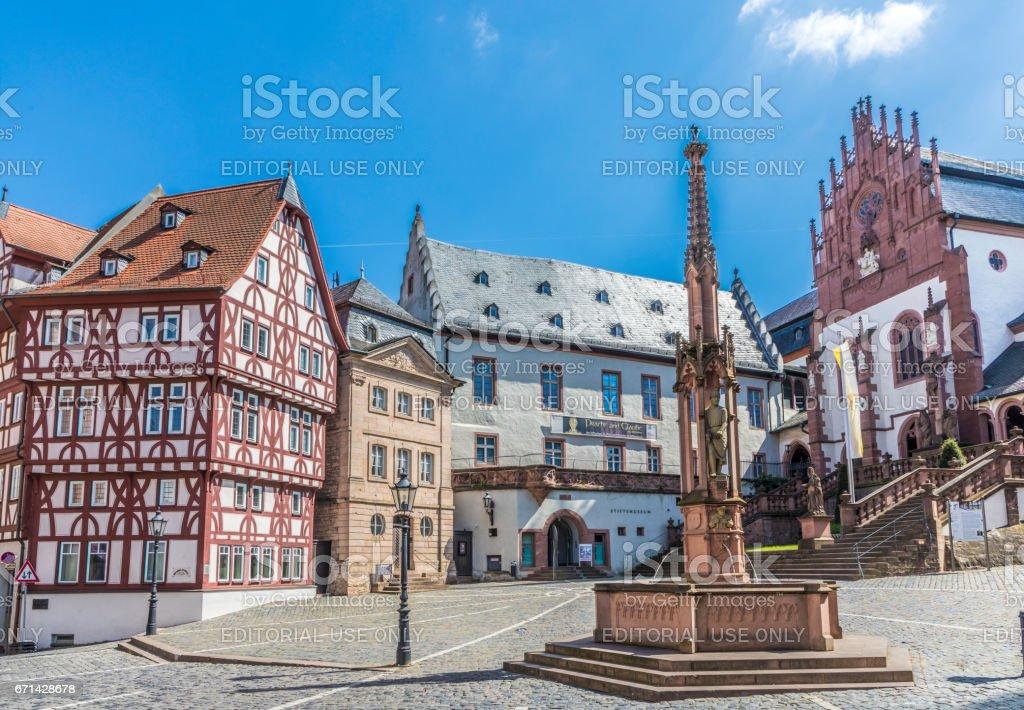 famous old Stifts Basilika in Aschaffenburg at Stiftskirchenplatz stock photo
