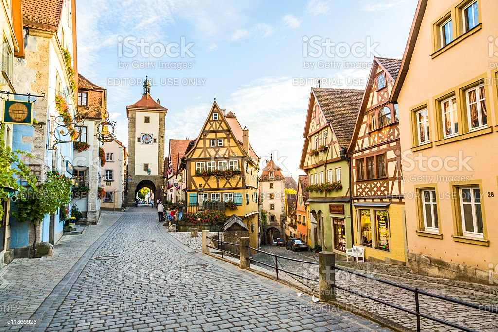 famous old town of Rothenburg with tourists stock photo