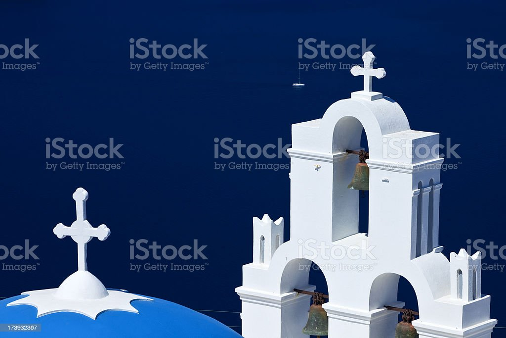 Famous Orthodox church with blue dome on Santorini royalty-free stock photo