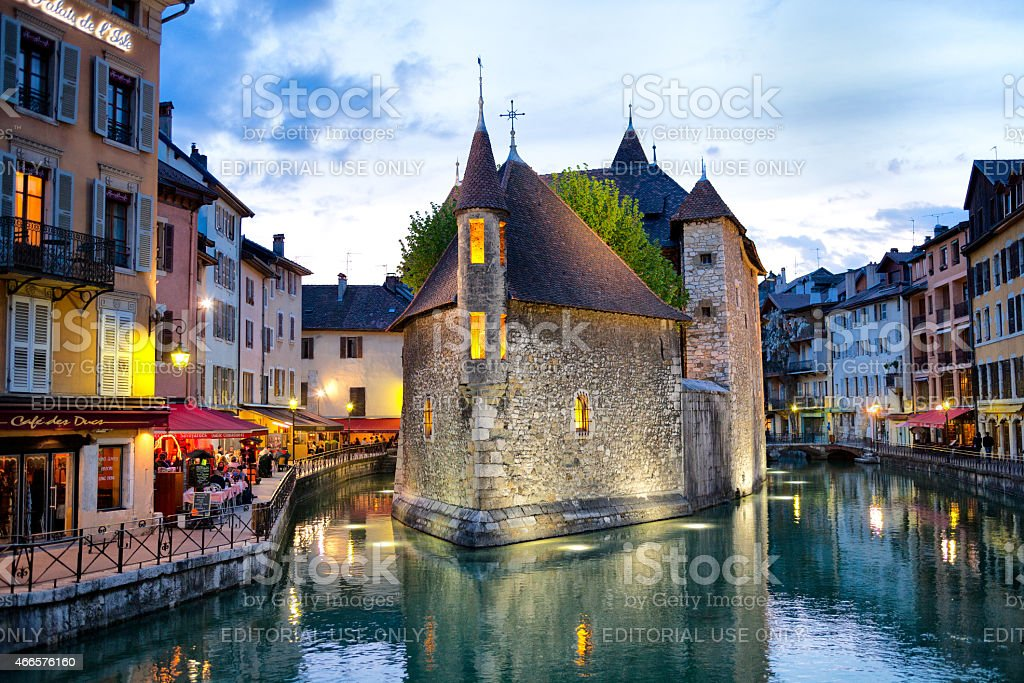 Famous Palais de L'Isle, Spring Evening, Annecy, France stock photo