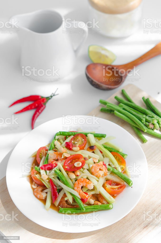 Famous papaya salad in Asia. Especially in Thailand, it's called stock photo