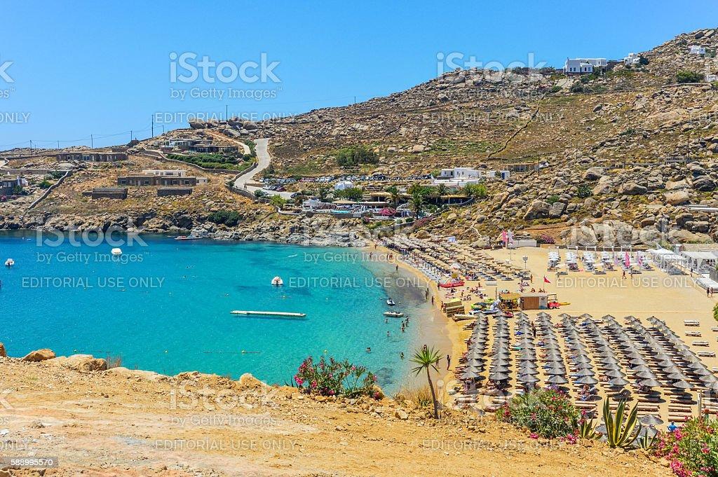 Famous Paradise Beach - Mykonos, Greece stock photo