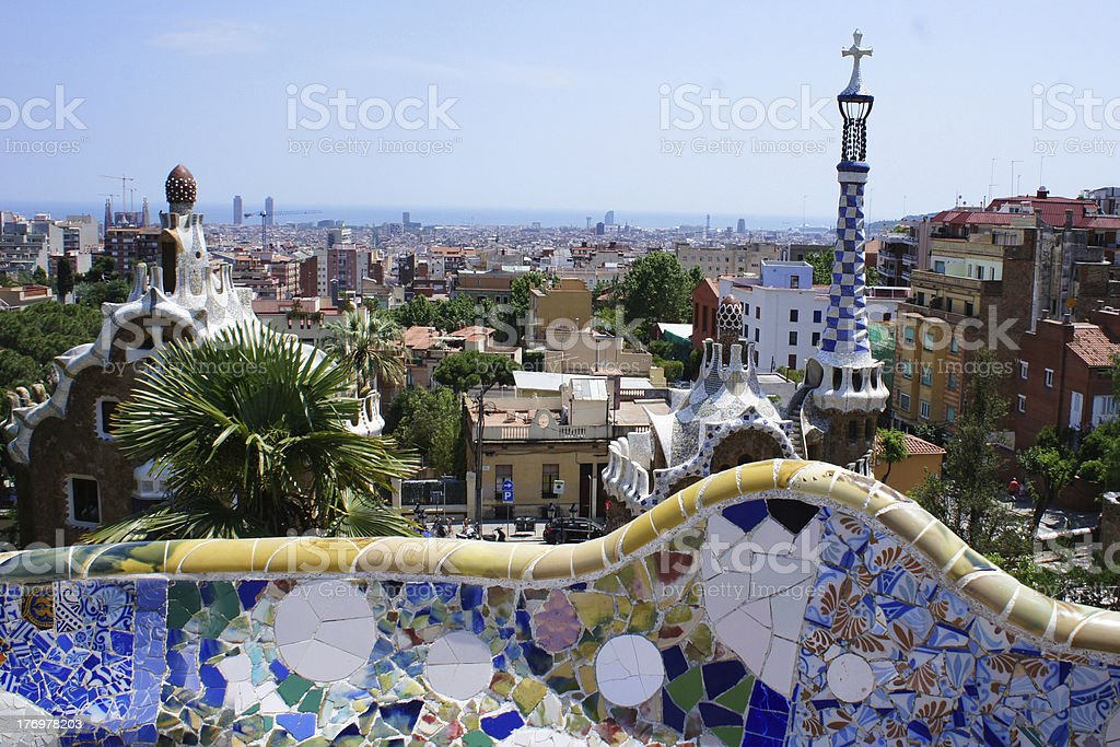 Famous Park Guell in Barcelona, Spain royalty-free stock photo