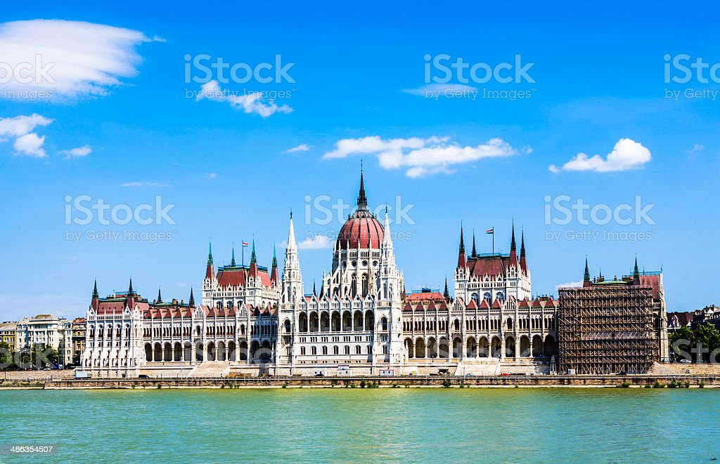 famous parliament of Hungary in Budapest stock photo