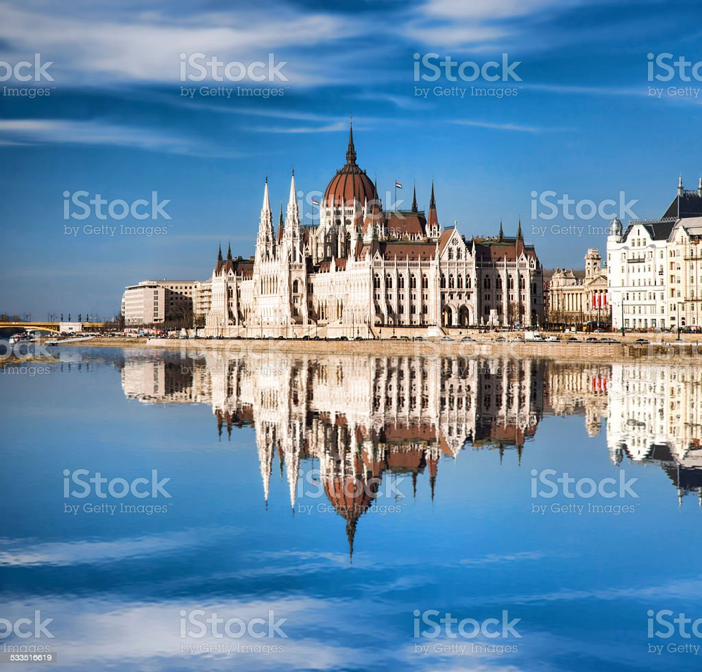 Famous Parliament with Danube river in Budapest, Hungary stock photo