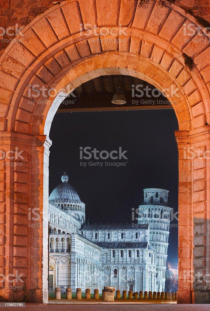 Famous Piazza dei Miracoli in Pisa by night Italian landmark stock photo