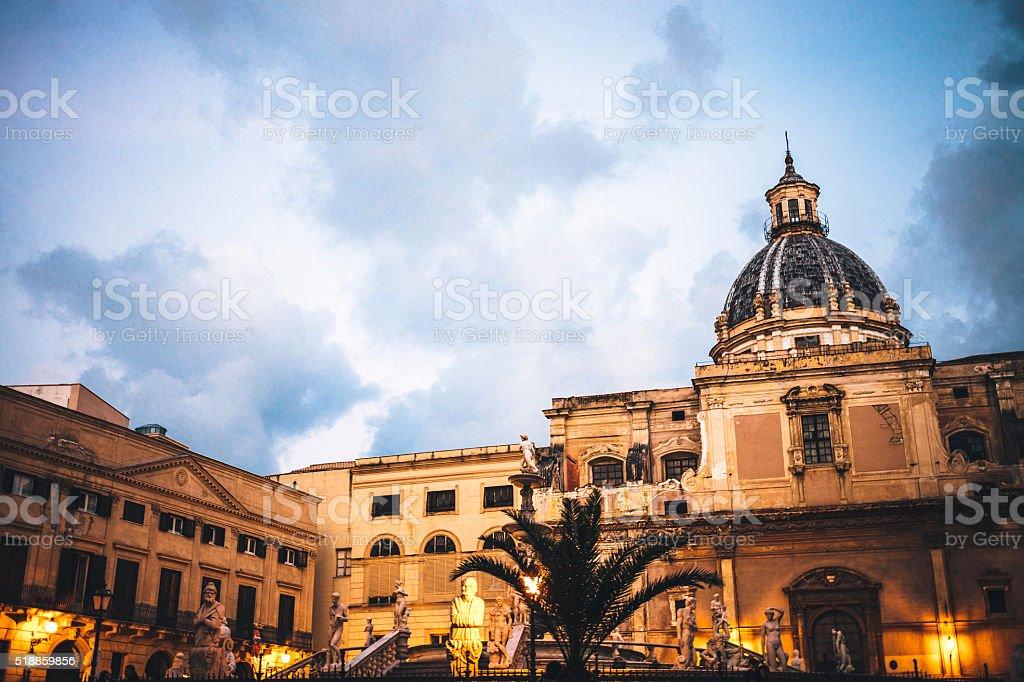 Famous Piazza Pretoria in Palermo, Sicily. stock photo