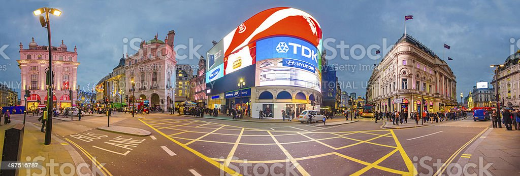 Famous Piccadilly Circus Panorama, London, UK stock photo