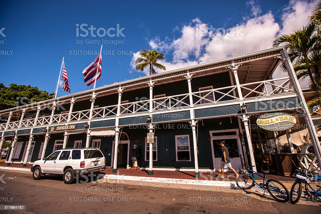 Famous Pioneer Inn Hotel in Lahaina, Maui, USA stock photo