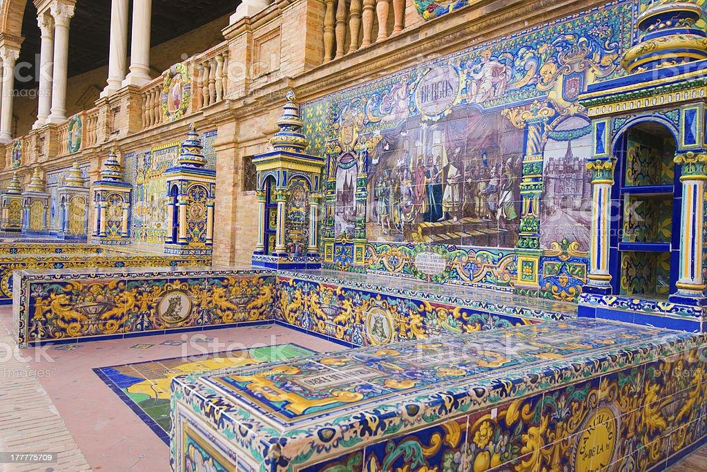 Famous Plaza de Espana, Sevilla, Spain royalty-free stock photo