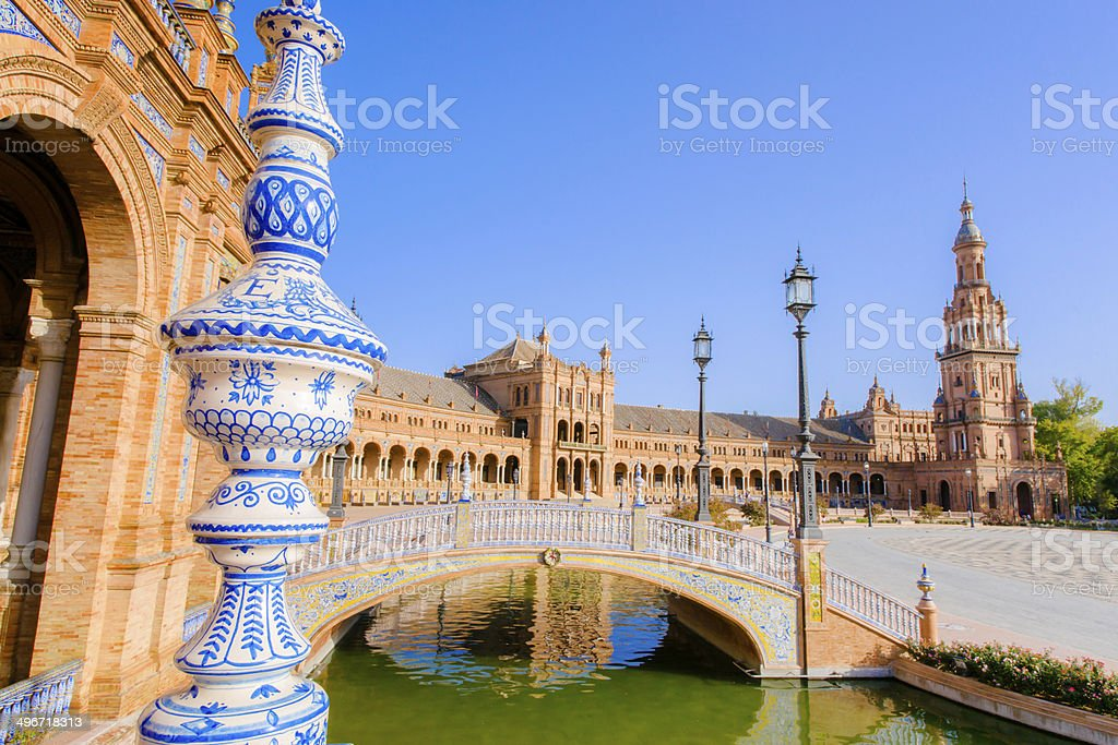 Famous Plaza de Espana, Sevilla, Spain stock photo