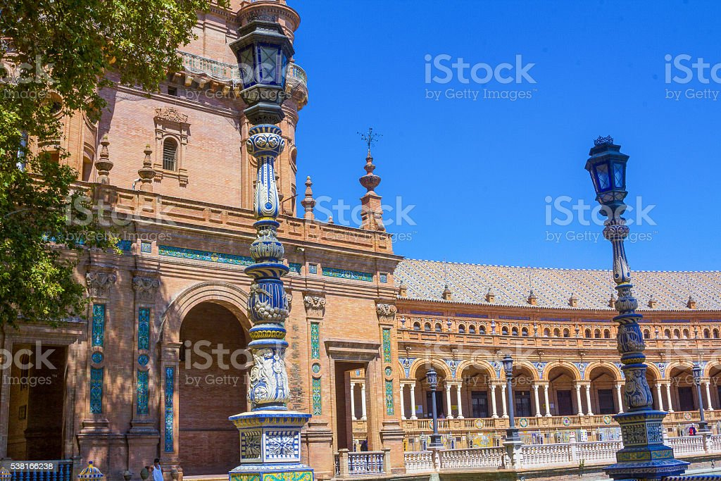 Famous Plaza of Spain in Seville, Spain stock photo