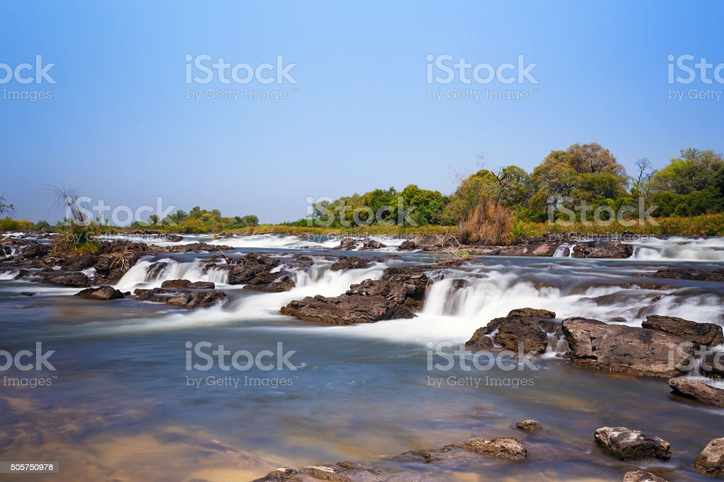 Famous Popa falls in Caprivi, North Namibia stock photo