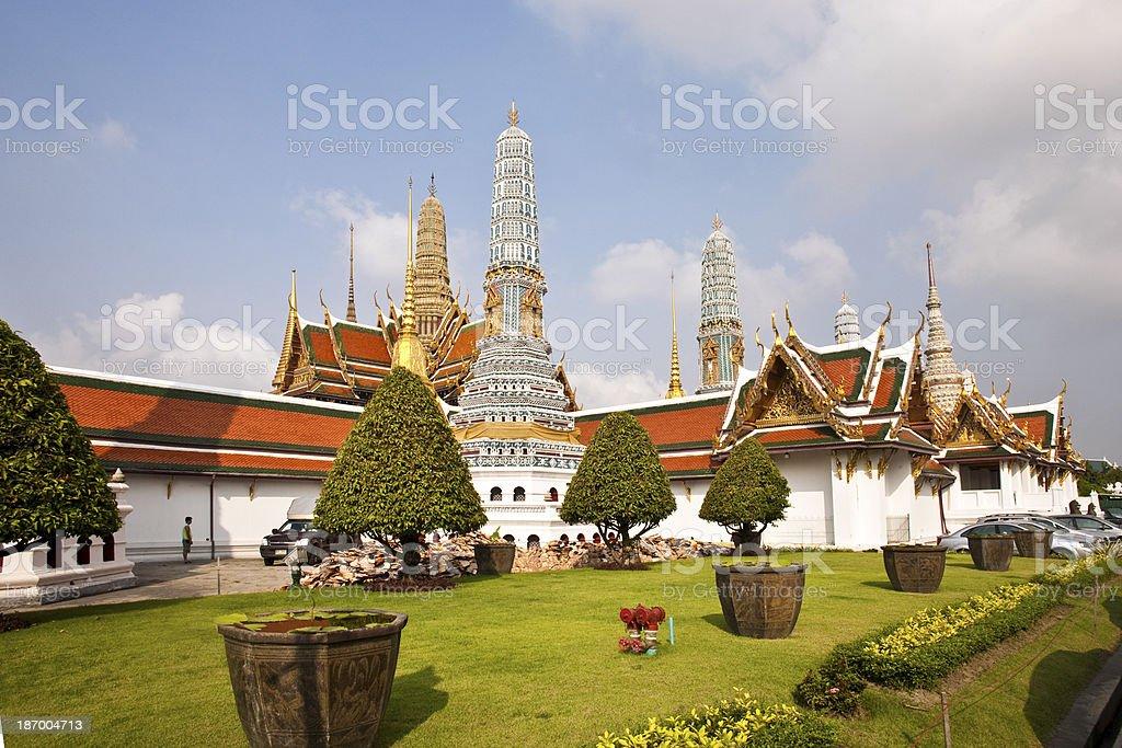 famous Prangs in the Grand Palace ,Bangkok royalty-free stock photo