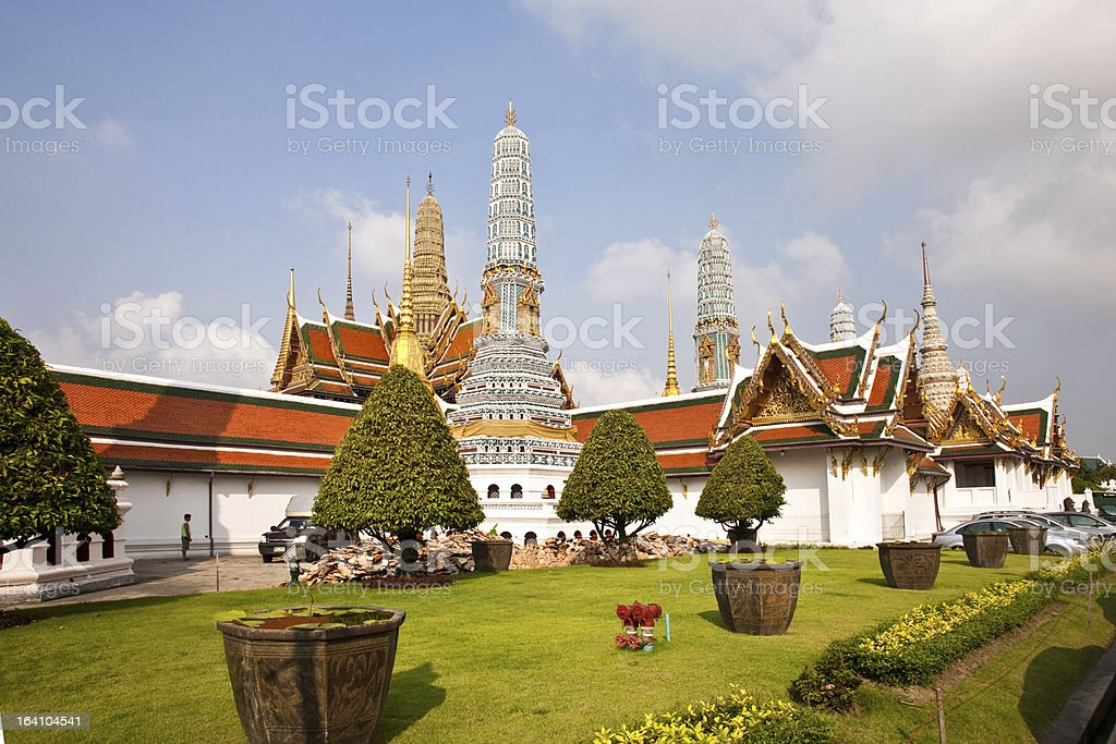 famous Prangs in the Grand Palace' temple areaj, Bangkok royalty-free stock photo