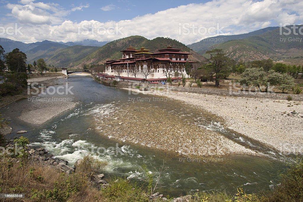 Famous Punakha Monastery or Dzong in Bhutan stock photo