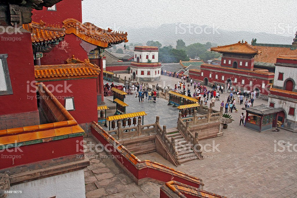 famous Puning temple in Chengde, China, oil paint stylization stock photo