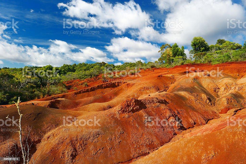 Famous red dirt of Waimea Canyon in Kauai stock photo