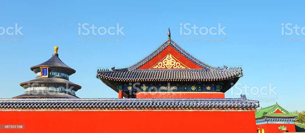 Famous red wall and roofs of Tiantan temple in China stock photo