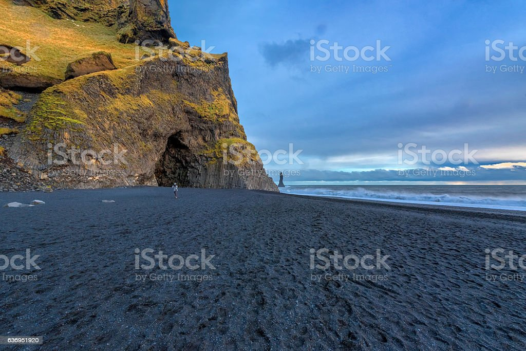 Famous Reynisdrangar rock formations at black Reynisfjara Beach stock photo