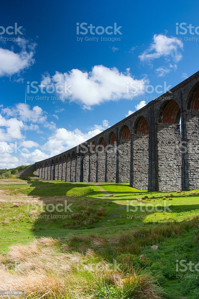 Famous Ribblehead Viaduct in Yorkshire Dales National Park stock photo