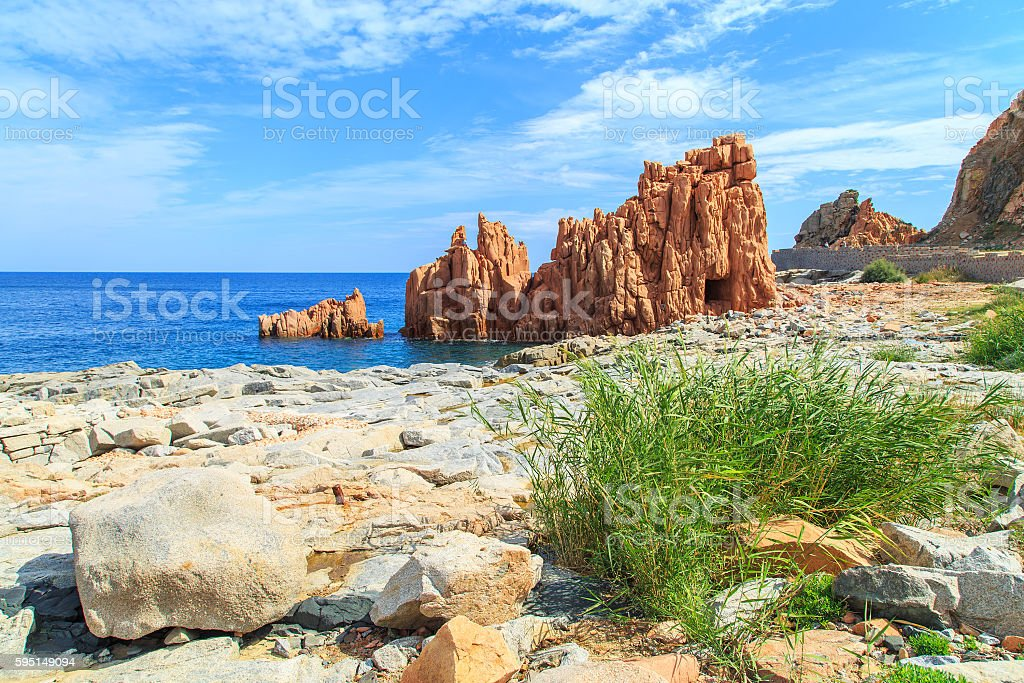 Famous Rocca Rossa, Sardinia stock photo
