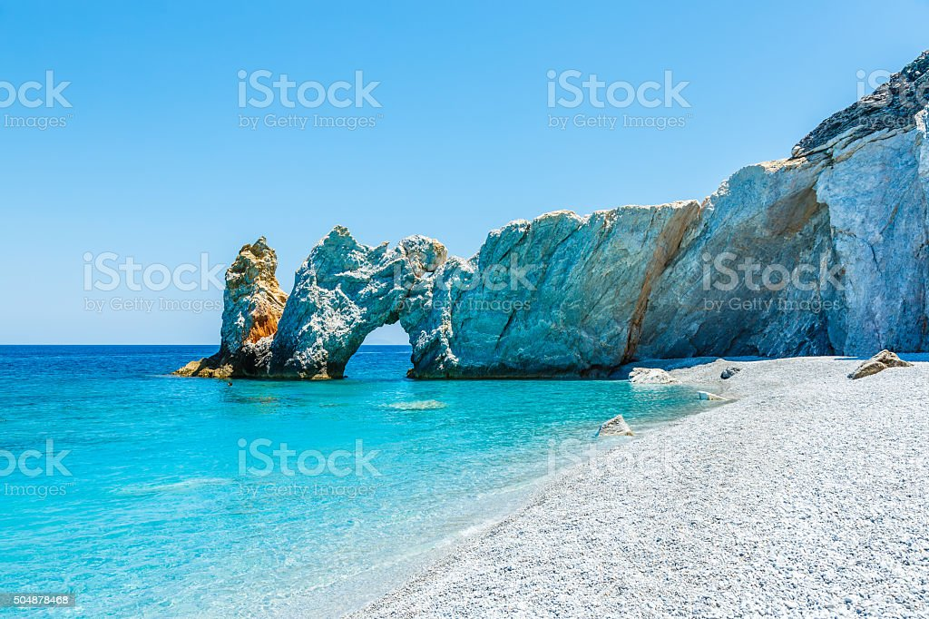 Famous rock at Lalaria beach, Skiathios island, Greece stock photo