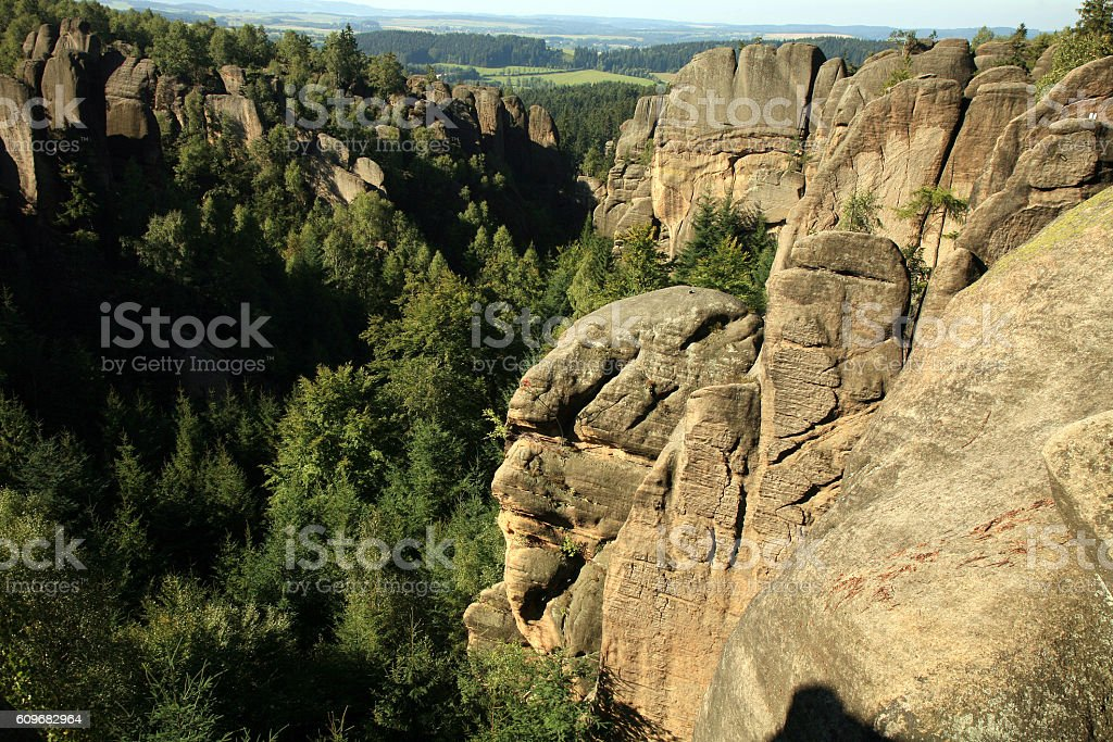 Famous rock formations in Czech Republic called Divadlo ( Theatre ) stock photo